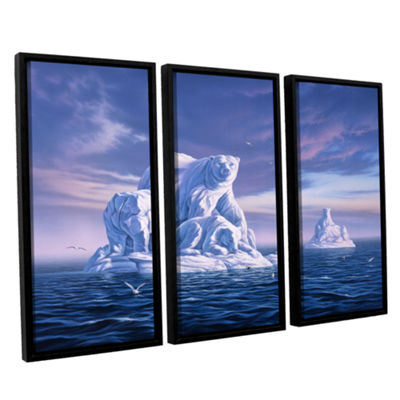 Brushstone Iceberg 3-pc. Floater Framed Canvas Set