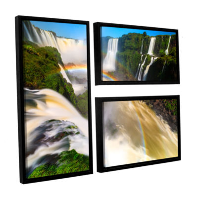 Brushstone Iguassu Falls 2 3-pc. Flag Floater Framed Canvas Wall Art
