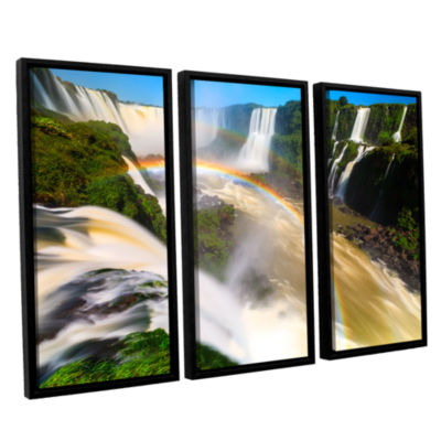 Brushstone Iguassu Falls 2 3-pc. Floater Framed Canvas Wall Art