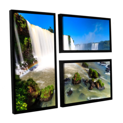 Brushstone Iguassu Falls 3 3-pc. Flag Floater Framed Canvas Wall Art