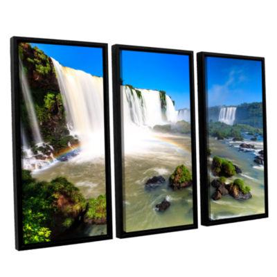 Brushstone Iguassu Falls 3 3-pc. Floater Framed Canvas Wall Art