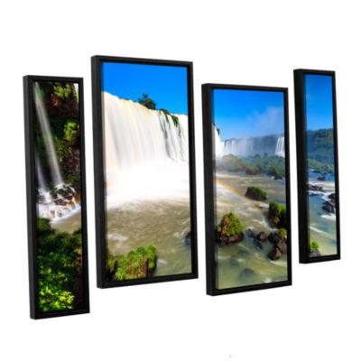 Brushstone Iguassu Falls 3 4-pc. Floater Framed Canvas Staggered Set