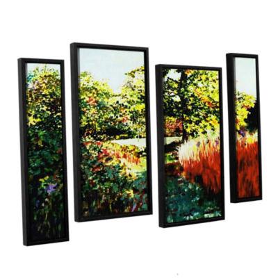 Brushstone Impression Path 4-pc. Floater Framed Canvas Staggered Set