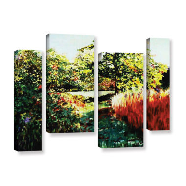 Brushstone Impression Path 4-pc. Gallery Wrapped Canvas Staggered Set