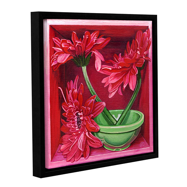 Brushstone In A Magenta Mood Gallery Wrapped Floater-Framed Canvas