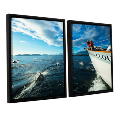 Brushstone In The Fray Dolphins 2-pc. Floater Framed Canvas Set