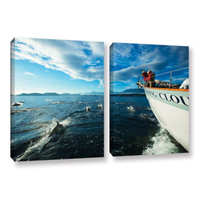 Brushstone In The Fray Dolphins 2-pc. Gallery Wrapped Canvas Set