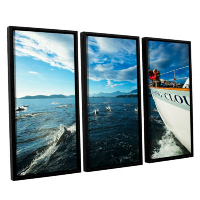Brushstone In The Fray Dolphins 3-pc. Floater Framed Canvas Set