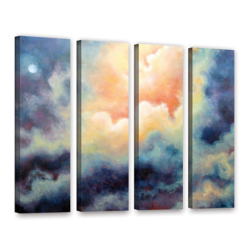 Brushstone In The Pink 4-pc. Gallery Wrapped Canvas Wall Art
