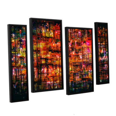 Brushstone Industrial VI 4-pc. Floater Framed Canvas Staggered Set