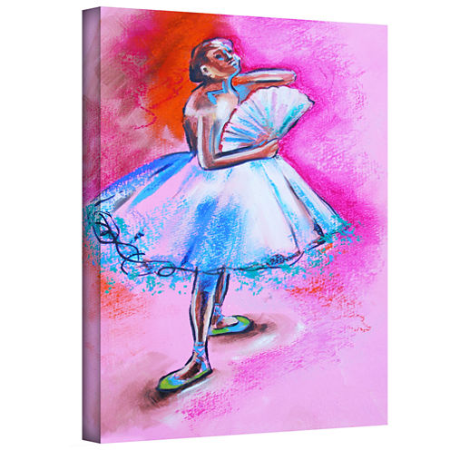 Brushstone Interpretation Of Ballerina With Fan Gallery Wrapped Canvas Wall Art