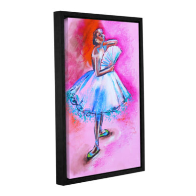 Brushstone Interpretation of Ballerina with Fan Gallery Wrapped Floater-Framed Canvas