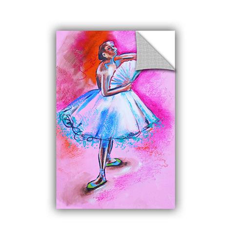 Brushstone Interpretation Of Ballerina With Fan Removable Wall Decal