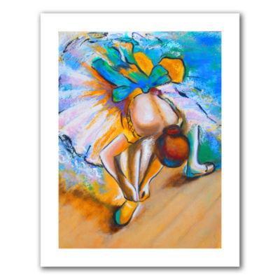 Brushstone Interpretation of Dancer tying Her ShoeCanvas Wall Art