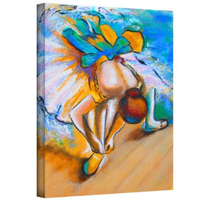 Brushstone Interpretation of Dancer tying Her ShoeGallery Wrapped Canvas