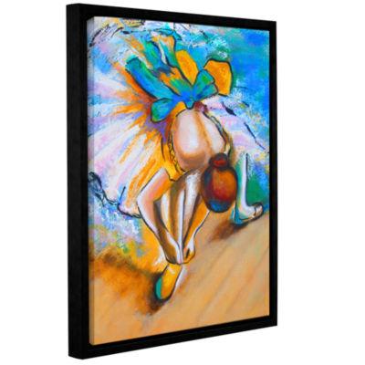 Brushstone Interpretation of Dancer tying Her ShoeGallery Wrapped Floater-Framed Canvas