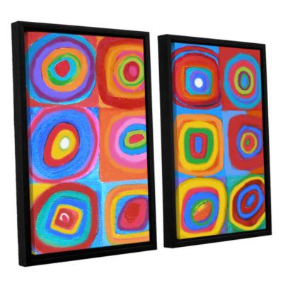 Brushstone Interpretation of Farbstudie Quadrate 2-pc. Floater Framed Canvas Set