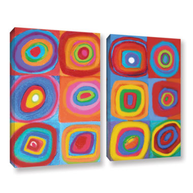 Brushstone Interpretation of Farbstudie Quadrate 2-pc. Gallery Wrapped Canvas Set