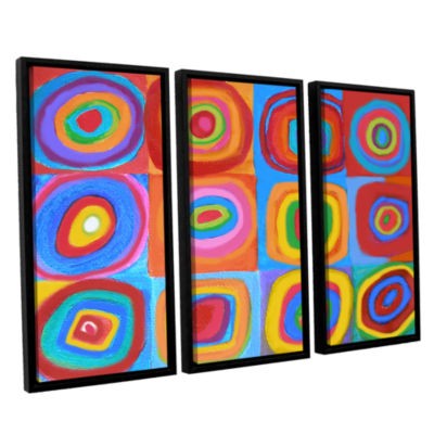 Brushstone Interpretation Of Farbstudie Quadrate 3-pc. Floater Framed Canvas Wall Art