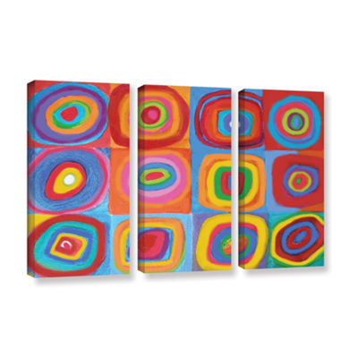 Brushstone Interpretation Of Farbstudie Quadrate 3-pc. Gallery Wrapped Canvas Wall Art