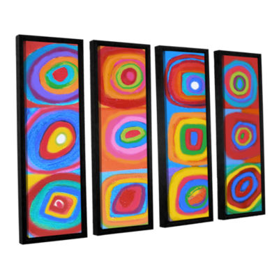 Brushstone Interpretation of Farbstudie Quadrate 4-pc. Floater Framed Canvas Set