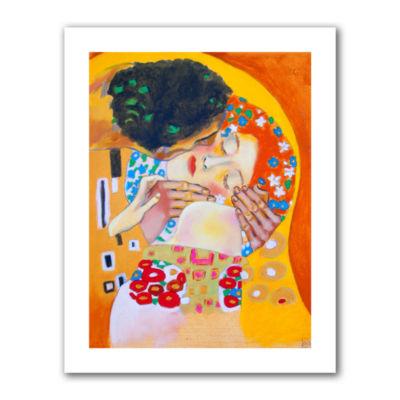 Brushstone Interpretation of the Kiss Canvas WallArt