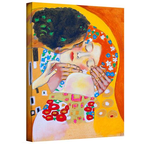 Brushstone Interpretation Of The Kiss Gallery Wrapped Canvas Wall Art