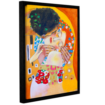 Brushstone Interpretation of the Kiss Gallery Wrapped Floater-Framed Canvas