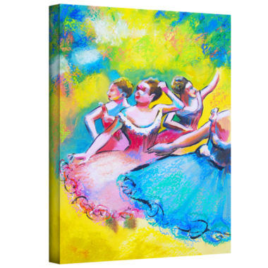 Brushstone Iterpretation of Three Ballerinas Gallery Wrapped Canvas