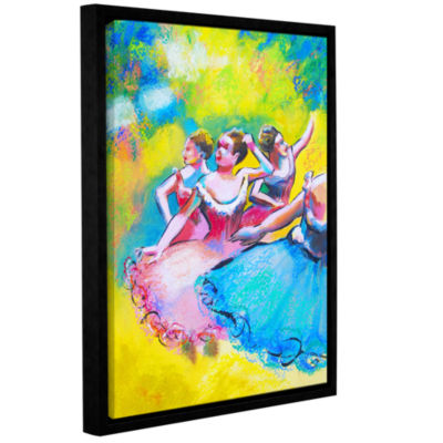 Brushstone Iterpretation of Three Ballerinas Gallery Wrapped Floater-Framed Canvas