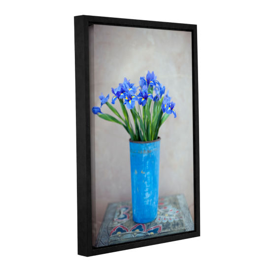 Brushstone Iris Flowers Gallery Wrapped Floater-Framed Canvas