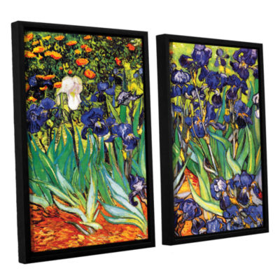 Brushstone Irises in the Garden 2-pc. Floater Framed Canvas Set
