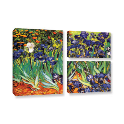 Brushstone Irises in the Garden 3-pc. Gallery Wrapped Canvas Flag Set