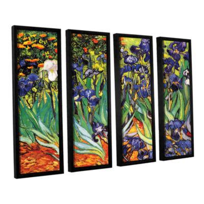 Brushstone Irises in the Garden 4-pc. Floater Framed Canvas Set