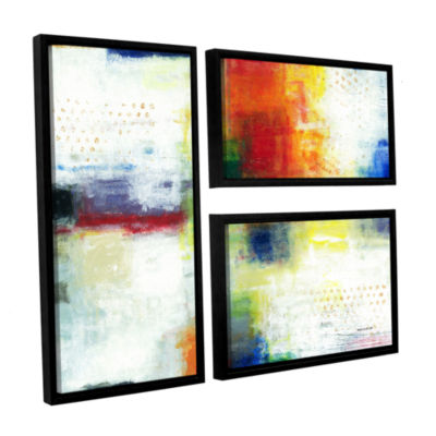 Brushstone Jubliant 3-pc. Flag Floater Framed Canvas Wall Art