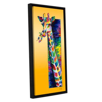 Brushstone Giraffe Eating Gallery Wrapped Floater-Framed Canvas