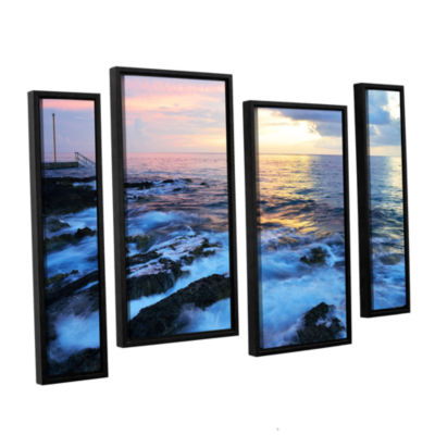 Brushstone Paraiso Reef 4-pc. Floater Framed Staggered Canvas Wall Art
