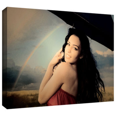 Brushstone Green Eyes And Summer Rain Gallery Wrapped Canvas Wall Art