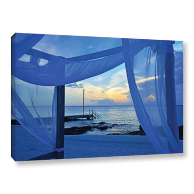 Brushstone Sunset Sea View Gallery Wrapped CanvasWall Art