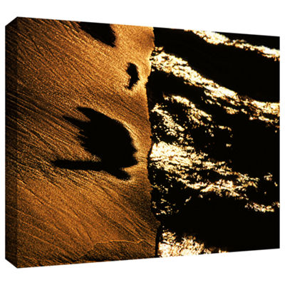Brushstone Sand And Surf At Sunset Gallery WrappedCanvas Wall Art