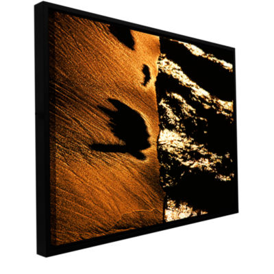 Brushstone Sand And Surf At Sunset Gallery WrappedFloater-Framed Canvas Wall Art