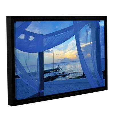 Brushstone Sunset Sea View Gallery Wrapped Floater-Framed Canvas Wall Art