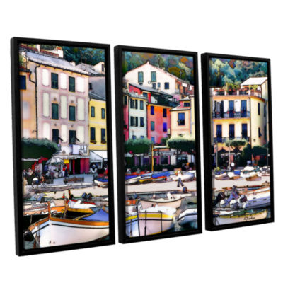 Brushstone Italy: Sunny Portofino 3-pc. Floater Framed Canvas Wall Art