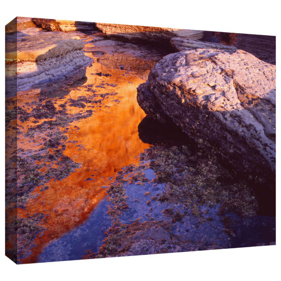 Brushstone Sunset Cliffs Reflection Gallery Wrapped Canvas Wall Art