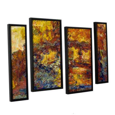 Brushstone Japanese Fottbridge 4-pc. Floater Framed Canvas Staggered Set