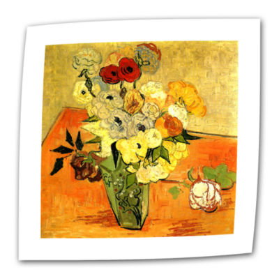 Brushstone Japanese Vase with Roses and Anemones Canvas Wall Art