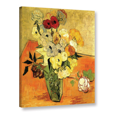 Brushstone Japanese Vase with Roses and Anemones Gallery Wrapped Canvas