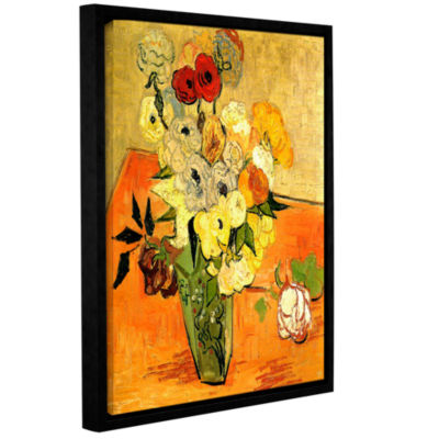 Brushstone Japanese Vase with Roses and Anemones Gallery Wrapped Floater-Framed Canvas