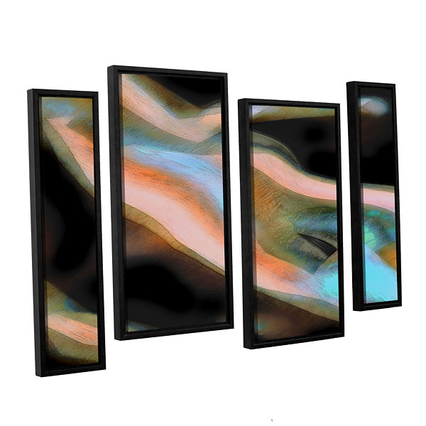 Brushstone Jazstract 4-pc. Floater Framed Canvas Staggered Set