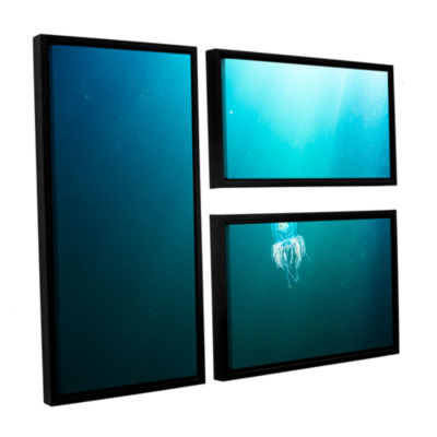 Brushstone Jellyfish 3-pc. Flag Floater Framed Canvas Wall Art